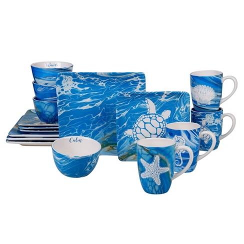 16pc Earthenware Fluidity Dinnerware Set Blue Certified