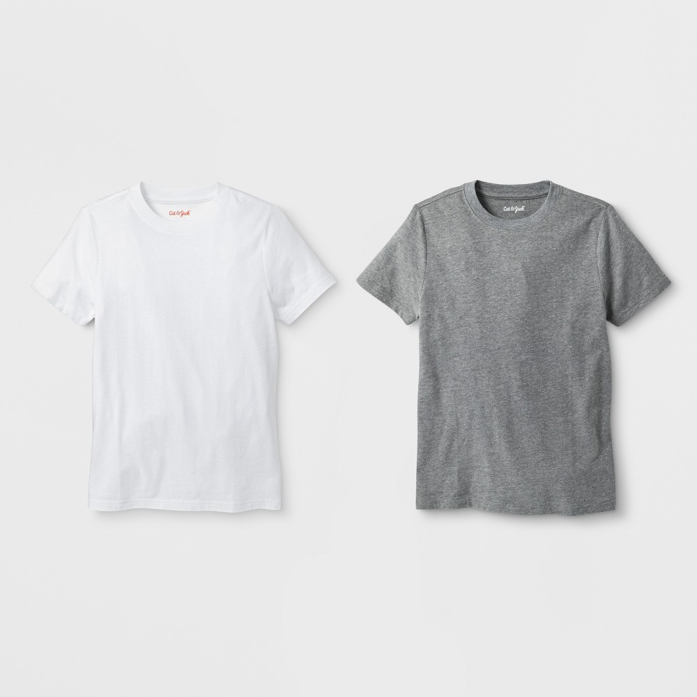 Boys' 2pk Short Sleeve T-Shirt - Cat & Jack White/Gray L