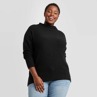 Women's Plus Size Mock Turtleneck Pullover Sweater - Ava & Viv™ Black 3X