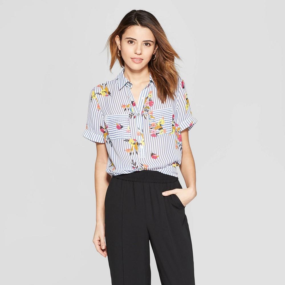Women's Floral Print Short Sleeve Button-Down Shirt - A New Day Blue Xxl