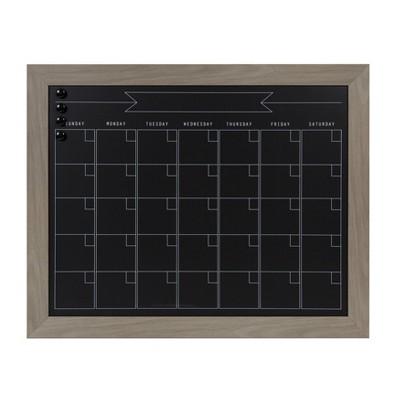 "23"" x 29"" Beatrice Framed Magnetic Chalkboard Calendar Gray - DesignOvation"