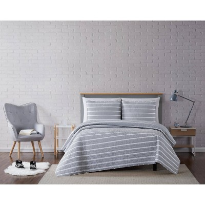 Truly Soft King Maddow Stripe Quilt Set Gray