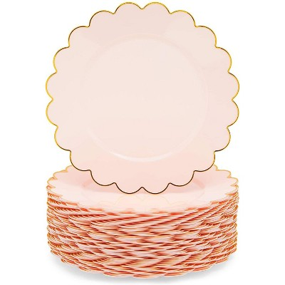 Sparkle and Bash 50 Pack Scalloped Plates, Pink Party Supplies, 9 in