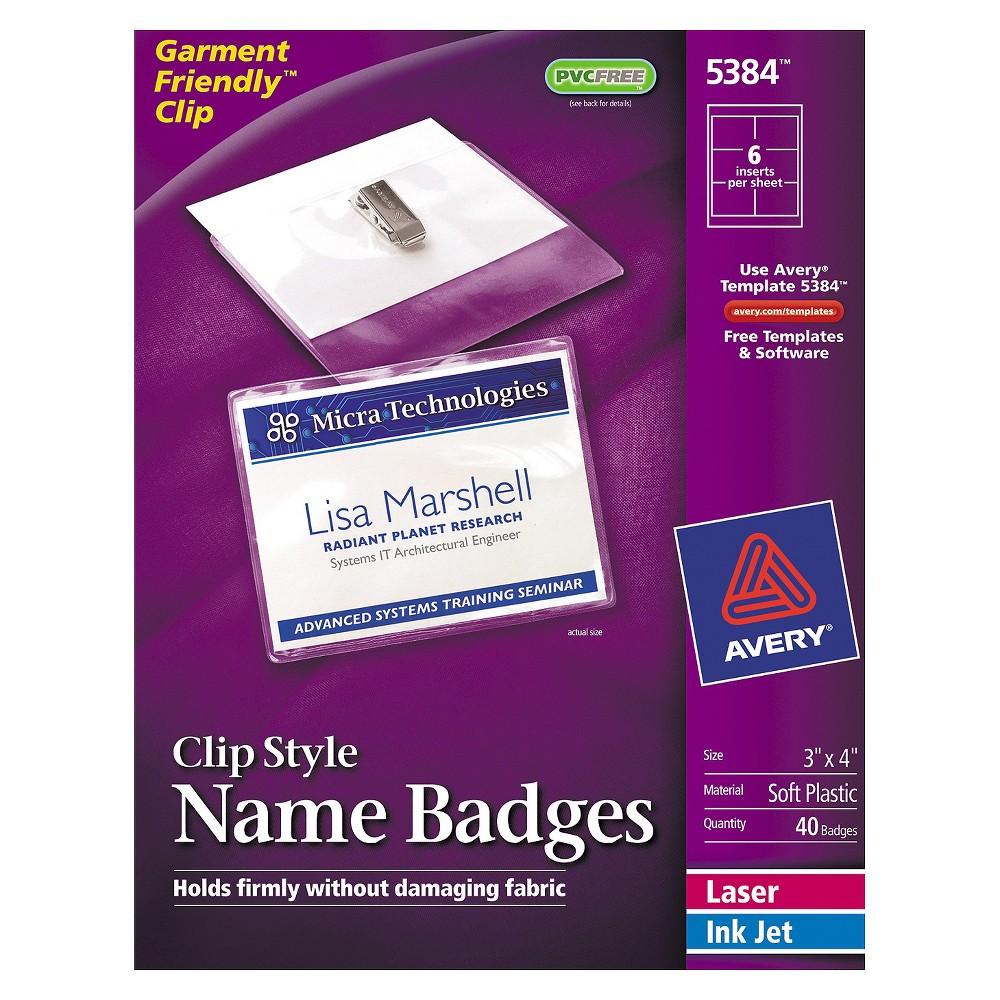 Avery Badge Holder Kit w/Laser/Inkjet Insert, Top Load, 3 x 4, White, 40/Box, Adult Unisex, Size: Small