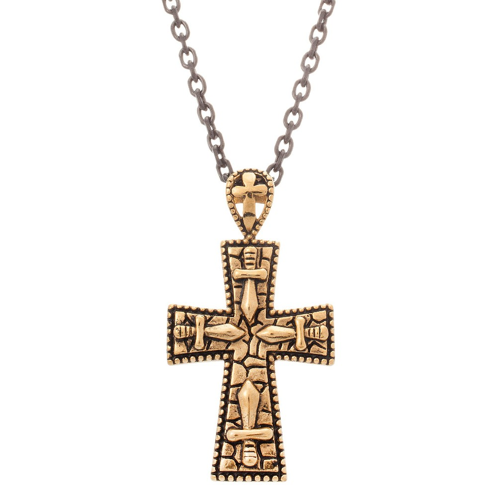 Men's D. Struct Stainless Steel Cross Necklace with Gold Enamel - Gold (24), Silver