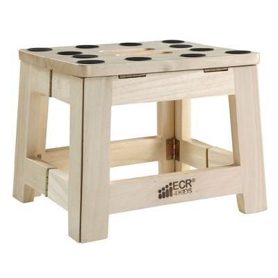 ECR4Kids Hardwood Folding Step Stool with Handle, Wood Non-Slip Stepstool for Kids, Adults, Natural