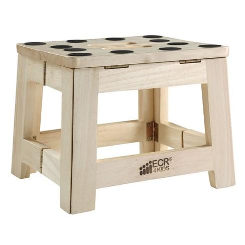ECR4Kids Hardwood Folding Step Stool with Handle, Wood Non-Slip Stepstool for Kids, Adults, Natural - image 1 of 4