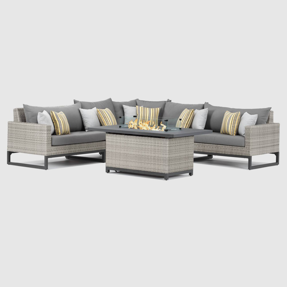 Milo Gray 6pc Sectional Set 38 Fire Table Charcoal Gray Rst Brands
