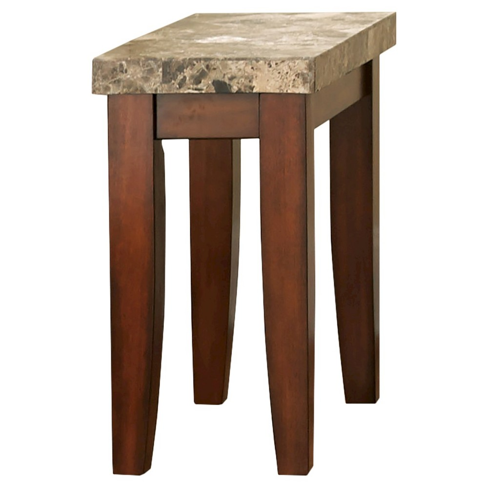 Montibello Chairside End Table Brown Faux Marble - Steve Silver