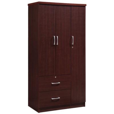 3 Door Armoire with 2 Drawers 3 Shelves in Mahogany - Hodedah