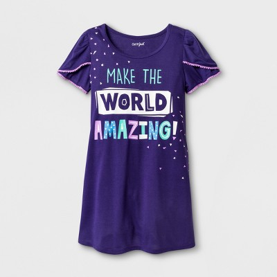 Girls' Make the World Amazing Gown Printed Nightgown - Cat & Jack™ Purple L