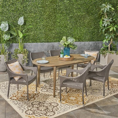Fayette 7pc Acacia Wood and Wicker Dining Set - Christopher Knight Home