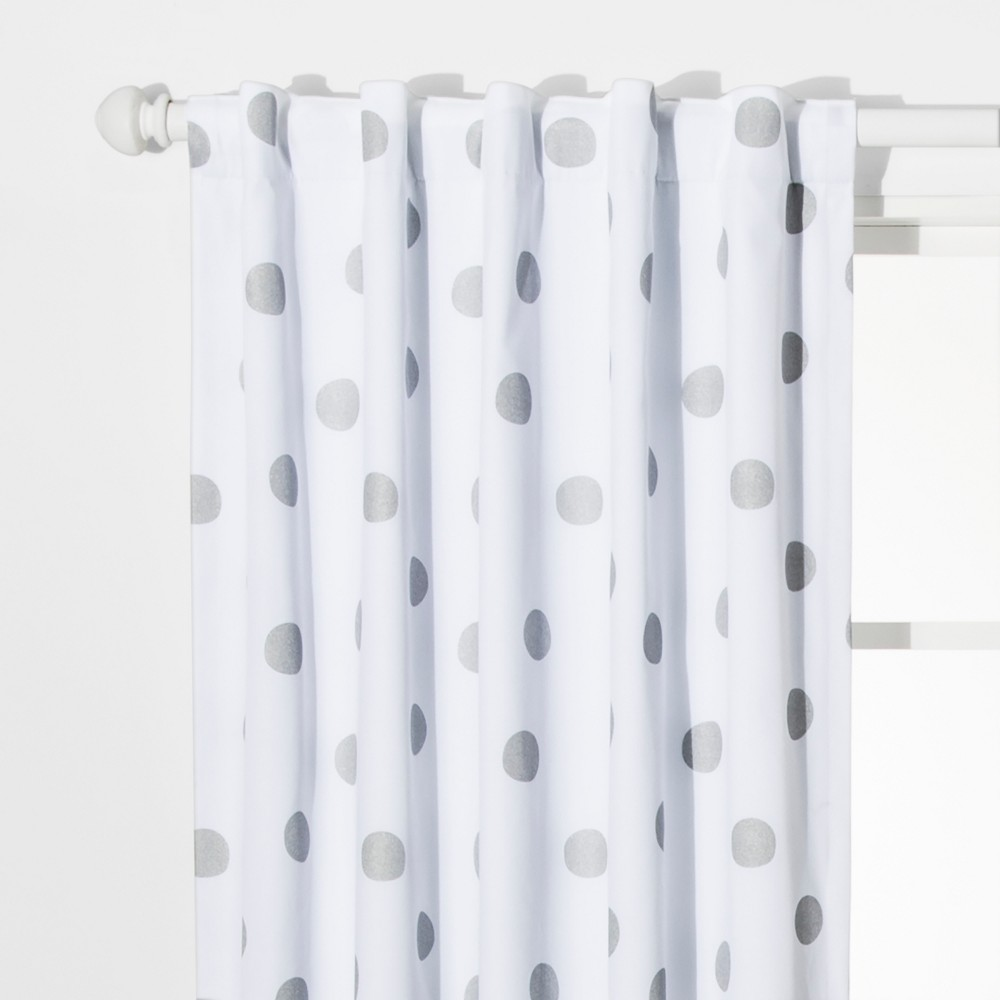 Dot Blackout Curtain Panels Silver (42