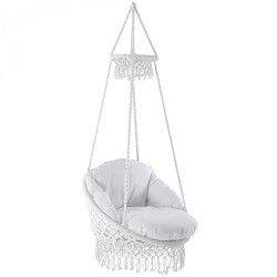 Vivere Deluxe Polyester Macrame Chair with Fringe