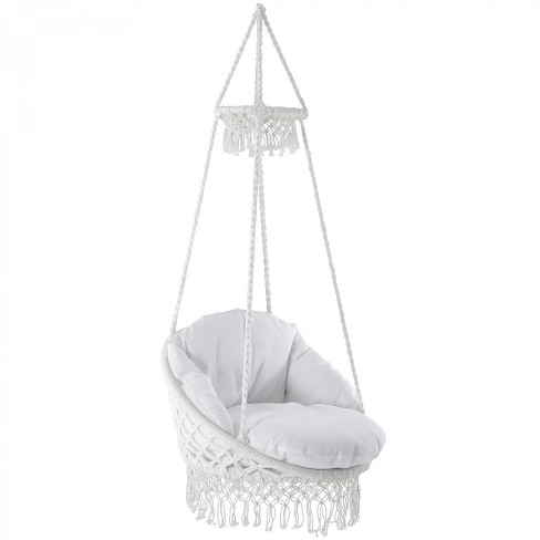 Vivere Deluxe Polyester Macrame Chair with Fringe - image 1 of 4