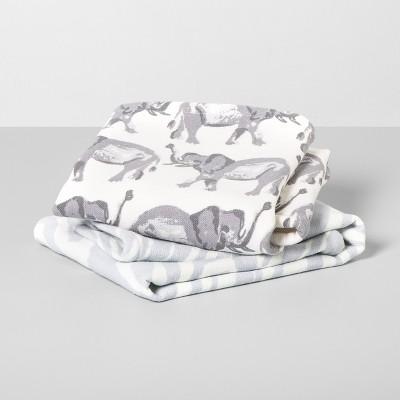 2pk Elephant Hand Towels Gray/White - Opalhouse™