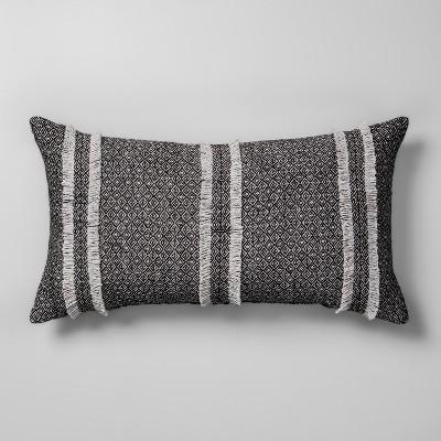 Diamond Jacquard Oversize Lumbar Throw Pillow Gray - Opalhouse™