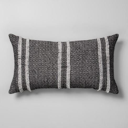 Diamond Jacquard Oversize Lumbar Throw Pillow Gray - Opalhouse™ - image 1 of 3