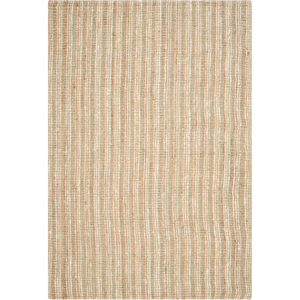 10'X14' Stripe Woven Area Rug Sage/Natural (Green/Natural) - Safavieh