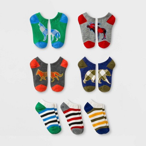 Boys' 7pk No Show Socks - Cat & Jack™ Gray - image 1 of 1