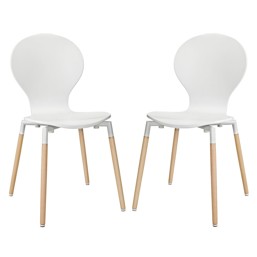 Path Dining Chair Set of 2 White - Modway