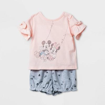Baby Girls' Disney Minnie Mouse Top and Bottom Set - Pink Newborn