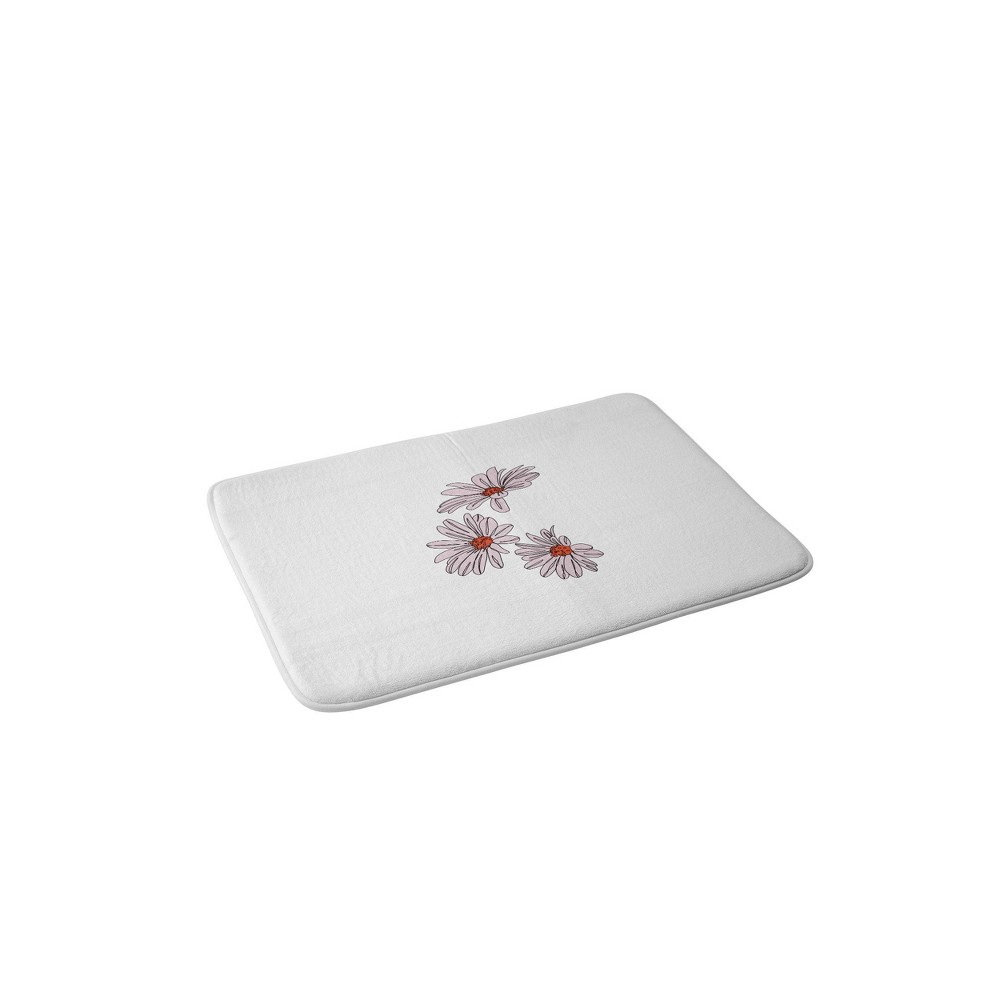 Image of The Colour Study Daisy Illustration Bud Bath Mat Pink - Deny Designs