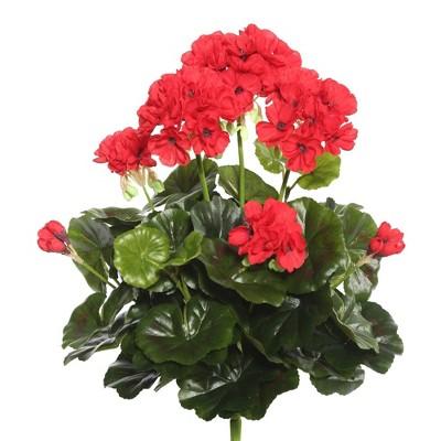 """Artificial Geranium Bush (15.25"""") Red - Vickerman"""