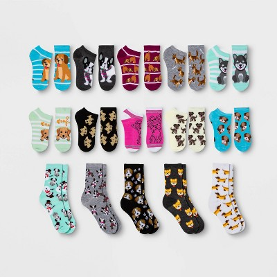 Women's Dog Lovers 15 Days of Socks Advent Calendar - Assorted Colors 4-10