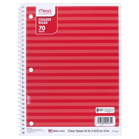 Mead 70 Sheet College Ruled Paper Cover Composition Notebook - Cardinal - image 1 of 1