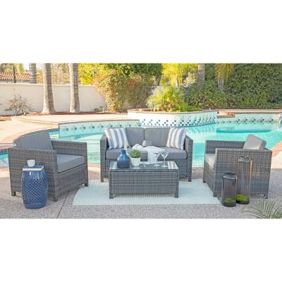 Alicia 4pc Outdoor Squared Wicker Sofa Set - Dark Gray - Coaster