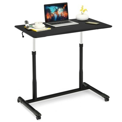 Costway Height Adjustable Computer Desk Sit to Stand Rolling Notebook Table Black