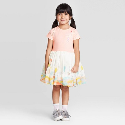 Toddler Girls' Dr. Seuss Short Sleeve Off to Great Places Dress - Pink 5T