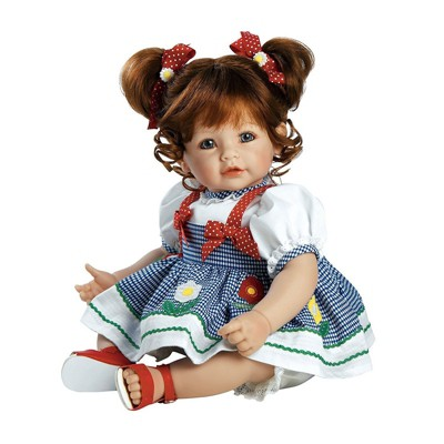 Adora Toddler Doll Daisy Delight with hand-sewn Gingham Dress and red summer sandals, 20 inches