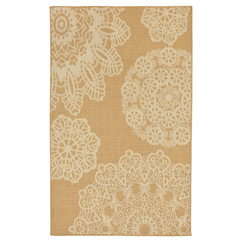 Beige Lace Woven Area Rug 4'10