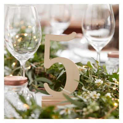 12ct Wooden Table Numbers 1-12 Beautiful Botanics