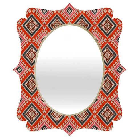 Oval Bohemian Farmhouse Geo Quatrefoil Decorative Wall Mirror - Deny Designs® - image 1 of 2