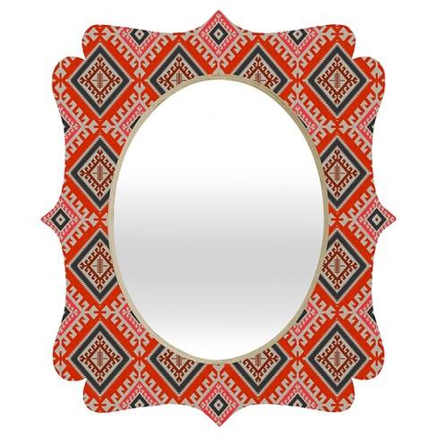 Oval Holli Zollinger Bohemian Farmhouse Geo Quatrefoil Decorative Wall Mirror Red - Deny Designs® - image 1 of 2