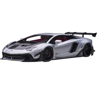 Lamborghini Aventador Liberty Walk LB-Works Matt Silver with Black Hood & Red Interior Limited Edition 1/18 Model Car by Autoart
