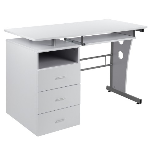 Desk With Three Drawer Pedestal, Flash Furniture Frosted Computer Desk With 3 Drawer Pedestal White