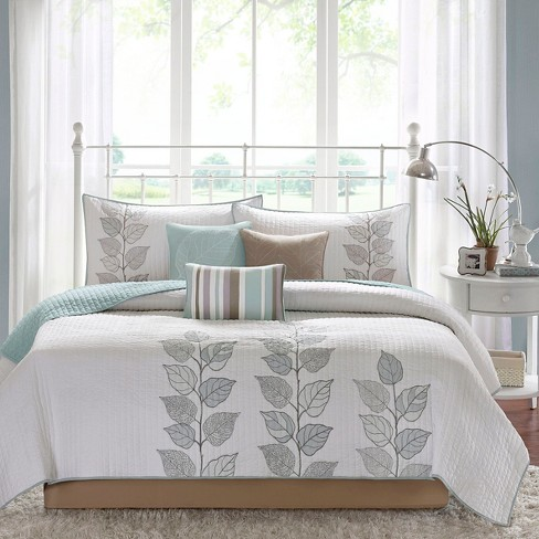 Blue Marissa Quilted Coverlet Set Queen 6pc Target