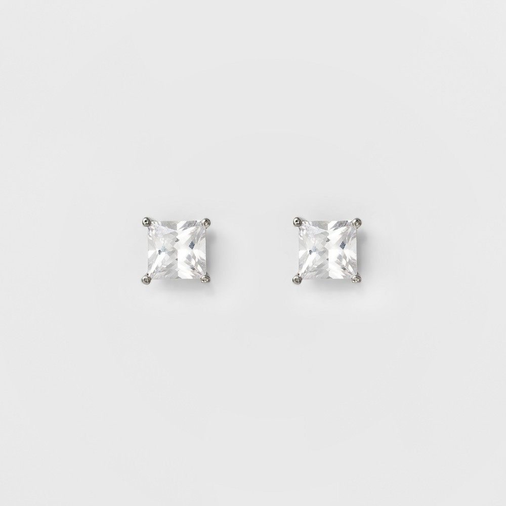 Women's Square Crystal Stud - A New Day Silver