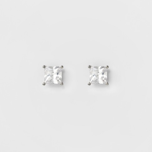 Women's Square Crystal Stud - A New Day™ Silver - image 1 of 2