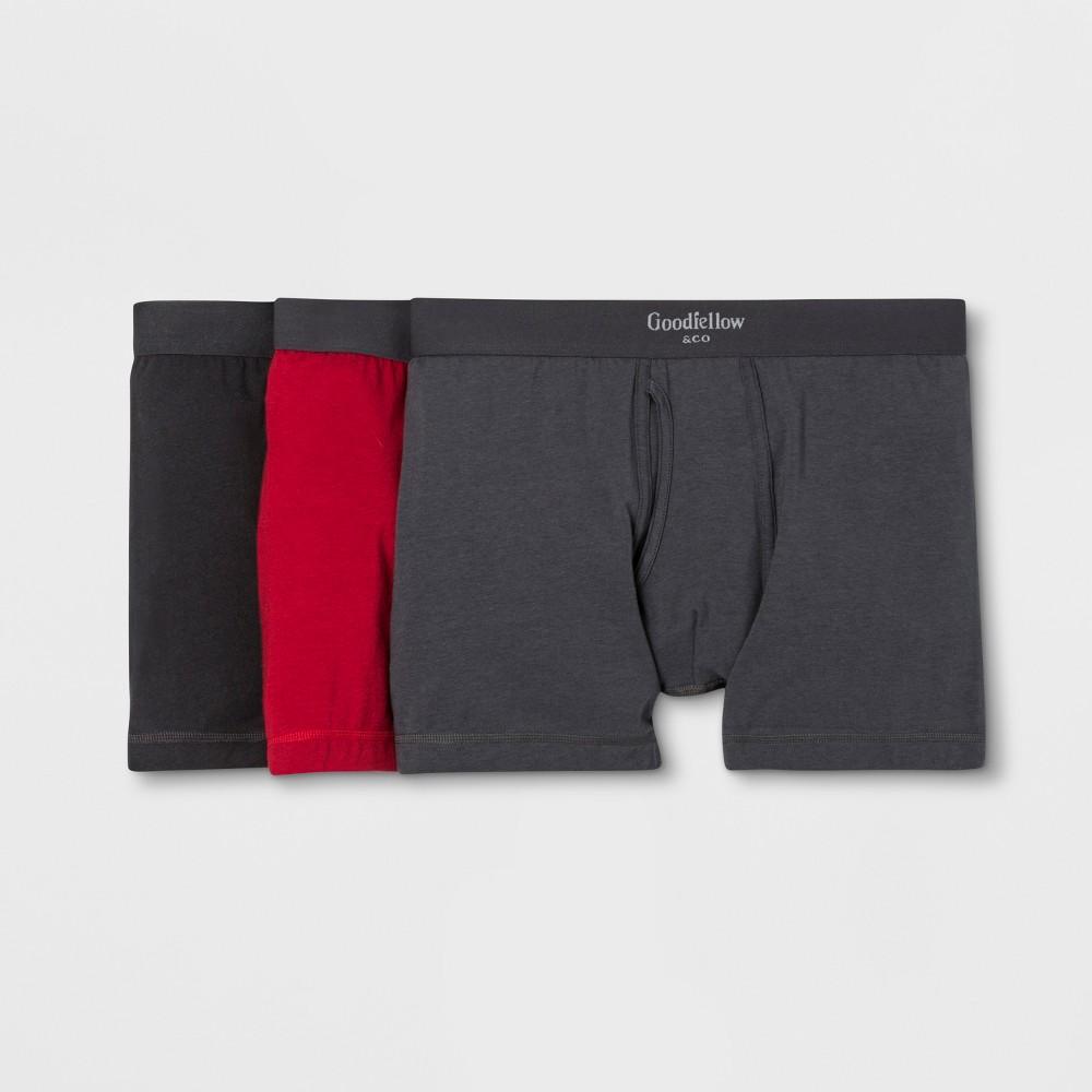 Men's Premium Knit 3pk Boxer Briefs - Goodfellow & Co Black/Red 2XL was $18.99 now $9.99 (47.0% off)