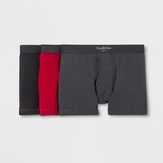 Men's Premium Knit 3pk Boxer Briefs - Goodfellow & Co™ Black/Red M