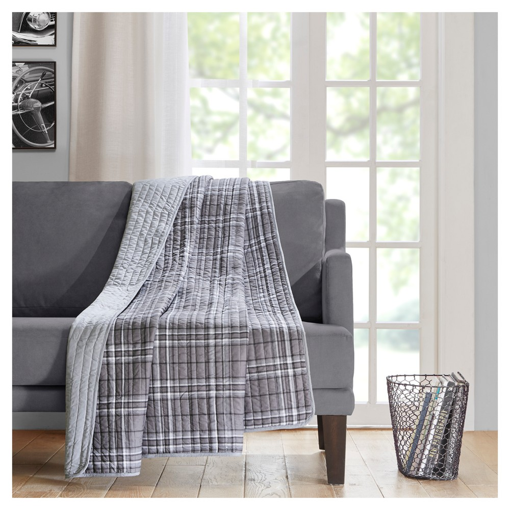 Gray Plaid Throw Blanket - 60