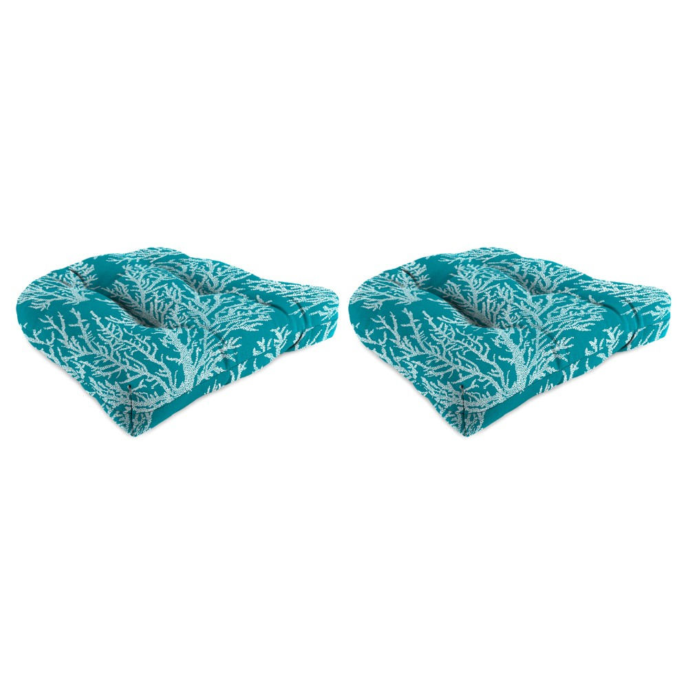 Outdoor Set Of 2 Wicker Chair Cushions In Seacoral Turquoise - Jordan Manufacturing, Almond Oil