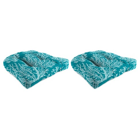 Outdoor Set Of 2 Wicker Chair Cushions In Seacoral Turquoise  - Jordan Manufacturing - image 1 of 2