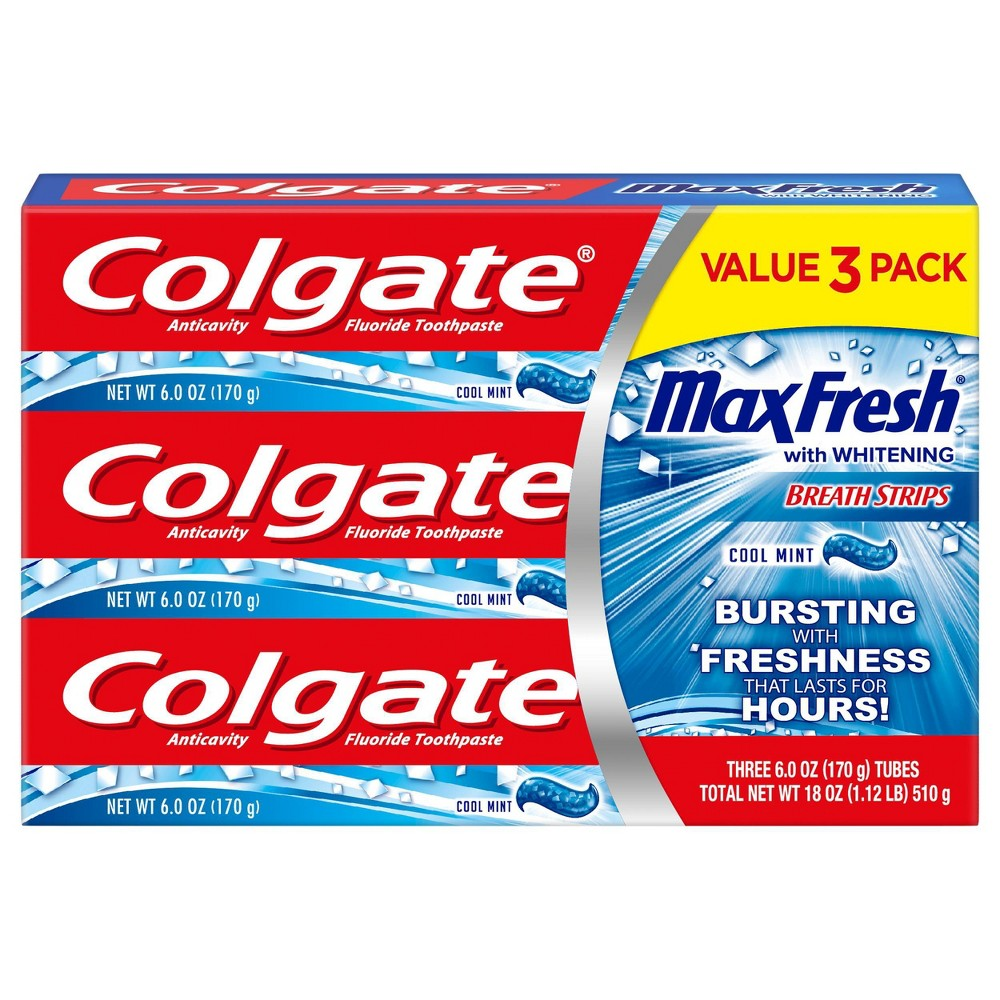 Image of Colgate Max Fresh Toothpaste with Mini Breath Strips - Cool Mint - 6oz/3pk