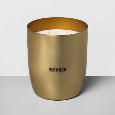25oz Large Brass 2-Wick Candle Redwood - Hearth & Hand™ with Magnolia